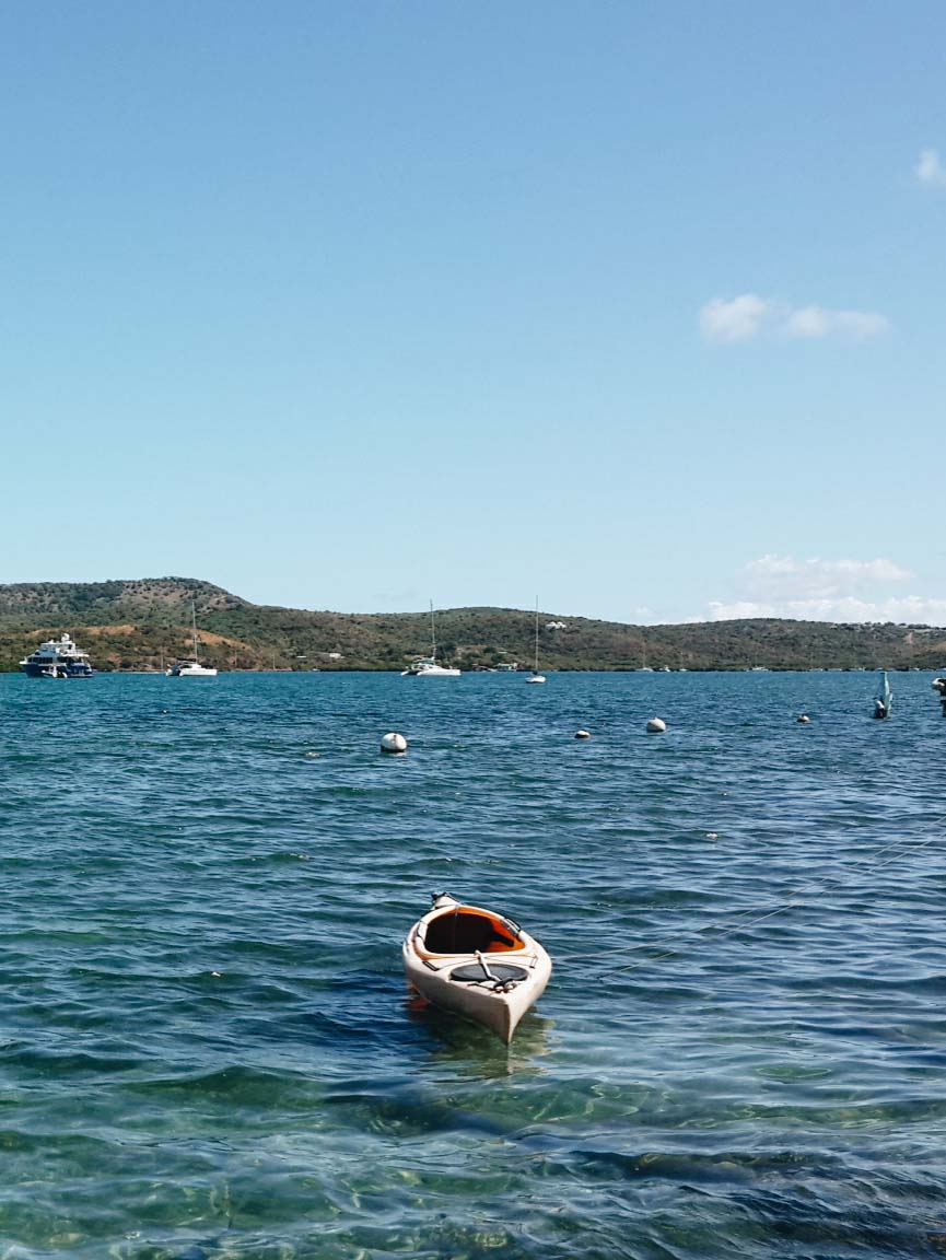 Boats in harbor at culebra